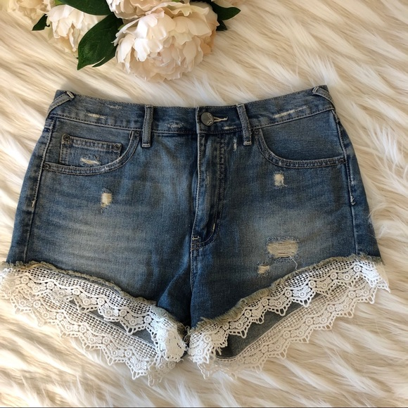 Free People Pants - Free People Jean Shorts with Lace Size 27